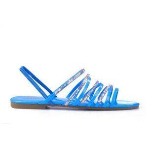 Embellished Strappy Slingback Sandal - Bright Blue